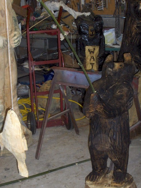 Chainsaw carving back when carriage rides